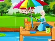 Elsa learn fishing